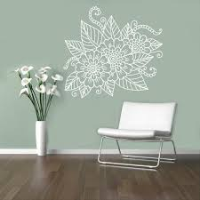 Abstract Flowers Mehndi Wall Vinyl Decal Henna Indian Ornament Etsy