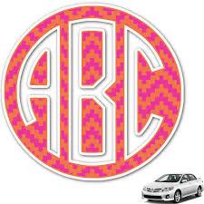 Pink Orange Chevron Monogram Car Decal Personalized Youcustomizeit