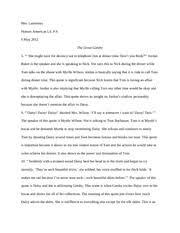 american lit Great Gatsby Quotes - Mrs Lamoreux Honors American Lit P.6 6  May 2012 The Great Gatsby 5 She might have the decency not to telephone him  at | Course Hero