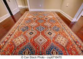 antique rug with red and blue persian