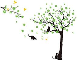 Amazon Com Anber Black Tree Birds And Cats Wall Decals Removable Tree Wall Sticker Vinyl Wall Art Kids Room Living Room Bedroom Wall Decal Home Decor Green Home Kitchen
