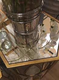 teardrop gold mirrored side tables