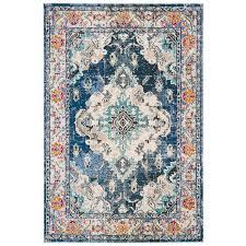 ponca navy light blue area rug