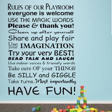 Playroom Rules Horizontal Toy Room Words Baby Nursery Kids Room Quote Vinyl Wall Decal Art Large Sticker 22 X 34 L Large Sticker Kids Roombaby Nursery Aliexpress