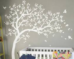 White Tree Decal Large Nursery Tree Decals With Birds Unisex White Tree Decals Wall Tattoos Wall Mural Removable Vinyl Wall Sticker 032 Tree Wall Murals Tree Wall Decal Kids Room Wall Murals