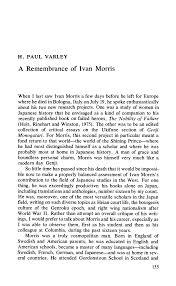A Remembrance of Ivan Morris