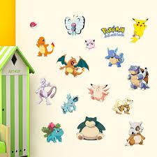 Fashion Cartoon Wall Stickers Pokemon Pikachu Bulbasaur Pattern Vinyl Decal For Baby Room Mural Art Wall Decoration Vinyl Decal Cartoon Wall Stickerswall Sticker Aliexpress