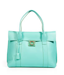 turquoise leather sookie tote with
