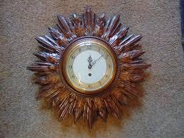 smiths 8 day wind up sunburst wall clock