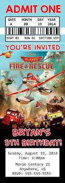 Disney Planes Fire And Rescue Movie Birthday Ticket Invitation