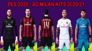 PES 2020 - NEW KITS AC MILAN 2020/2021 - NOVOS UNIFORMES MILAN - YouTube