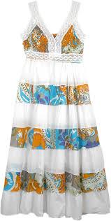 boho beach tiered long dress cotton