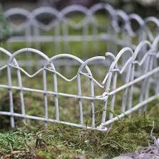 Whitewashed Metal Garden Folding Fence Fairy Garden Supplies Craft Supplies Factory Direct Craft