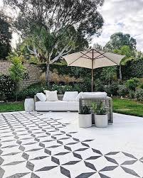 tile stencil pattern patio makeover