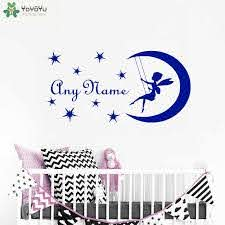 Wall Decal Diy Fairy On Moon Custom Name Vinyl Wall Sticker Personalized Name Decal For Kids Nursery Girls Bedroom Decal Ym 144 Name Wall Decals Wall Decalsstickers Personalized Aliexpress