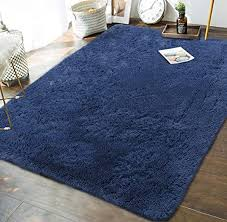 Amazon Com Andecor Soft Fluffy Bedroom Rugs 5 X 8 Feet Indoor Shaggy Plush Area Rug For Boys Girls Kids Baby College Dorm Living Room Home Decor Floor Carpet Light Navy Home