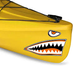 Amazon Com Kayak Shark Teeth Decals Shark Mouth Stickers For Kayaks Canoes Boats Jet Skis Etc Orange 12 X 20 Sports Outdoors