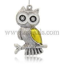 antique silver gold owl alloy enamel