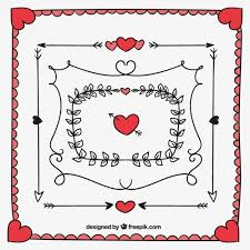 pack of hand drawn valentine frames and