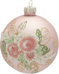 GreenGate Xmas Ball Glass Sonia Rose with Lace