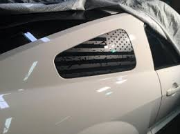 05 09 Mustang Quarter Window Distressed American Flag Set Of 2 Shelby