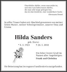 Anzeige von Hilda Sanders   Trauer & Gedenken