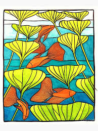 siamese fighting fish stained glass