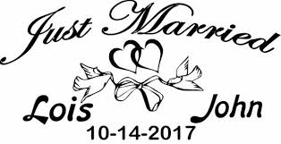 Personalized Just Married Wedding Doves Heart Car Window Decal