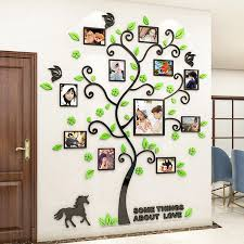 3d Family Photo Frame Tree Wall Sticker Diy Art Wall Decals Acrylic Poster Living Room Bedroom Home Decor Large Wallpaper Kids Wall Stickers Aliexpress