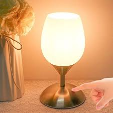 Amazon Com Rottogoon Touch Control Table Lamp 3 Way Dimmable Modern Small Desk Lamp With White Opal Glass Shade For Bedroom Kids Room Living Room E12 Led Bulb Included Silver Home Improvement