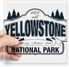 Amazon Com Cafepress Yellowstone Np Blue Square Sticker 3 X 3 Square Bumper Sticker Car Decal 3 X3 Small Or 5 X5 Large Home Kitchen