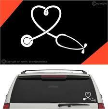 Nurse Heart Stethoscope Auto Decal Car Sticker Topchoicedecals