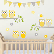 Owl On Branches With Flags Yellows And Grey Set Woven Ultra Thin Fabr Decal The Walls