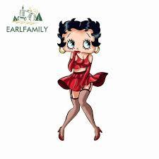 Earlfamily 13cm X 5 4cm Funny Car Stickers For Betty Boop Anime Beautiful Decals Auto Vinyl Car Wrap Car Door Protector Decor Car Stickers Aliexpress