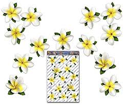 Jas Stickers Flower Plumeria Car Decal St00074wt Lge White Singles Frangipani Large Vinyl Sticker Pack