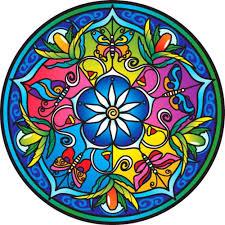 Amazon Com Illumination Mandalas Wildflower Mandala Stained Glass Window Art Sticker Decal 5 5 Circular Automotive