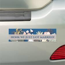 Just Got Married Floral Elegant Chic Car Magnet Zazzle Com