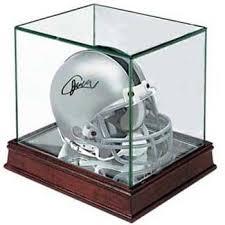 cherry wood glass mini helmet display case
