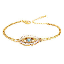 double layer chain gold tone with opal