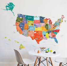 Map Wall Decal Usa Interactive Map Wall Sticker Etsy