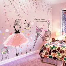 Shijuehezi Cartoon Girl Wall Stickers Diy Pink Flowers Bicycle Mural Sticker For Kids Rooms Baby In 2020 Wall Stickers Girl Room Girls Wall Stickers Girls Room Decor