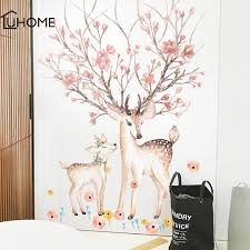 Parent Child Sika Deer Flowers Wall Sticker For Living Room Art Vinyl Wall Decals For Kids Baby Home Decor Adesivo De Parede Wall Stickers Aliexpress