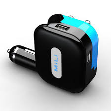 mili dual usb car charger and wall