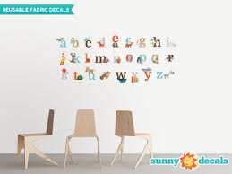 Alphabet Fun Fabric Wall Decals Abc Decals With Animals And Fun Characters