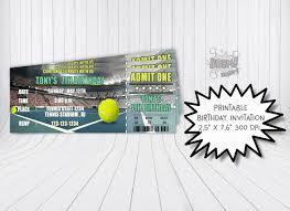 Tenis Entrada De Fiesta De Cumpleanos De Tenis Invitacion De Etsy