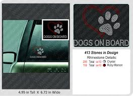Dogs On Board Paw Print With Heart Rhinestone Car Decal Etsy Rhinestone Sticker Rhinestone Car Decal Bling Decal