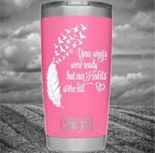 Remembrance Decal Monogram Vinyl Wings Feather For Your Tumbler Cups In Memory Ebay