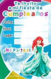 Invitaciones Cumpleanos Princesas Disney Ariel Sirenita Jpg 1040
