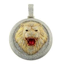 diamond custom lion head pendant