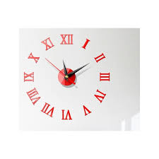 Wall Clock Watch Large Modern Simple Diy Sticker Decal 3d Roman Numeral Home Wall Clocks Aliexpress Color Red